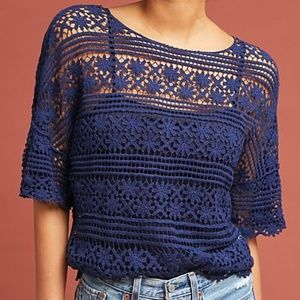Anthropologie Blue Tassel Floral Lace Tee